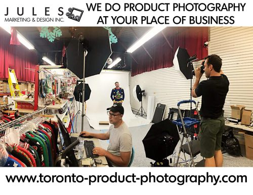 Customers helping out with this on-location product photography studio project