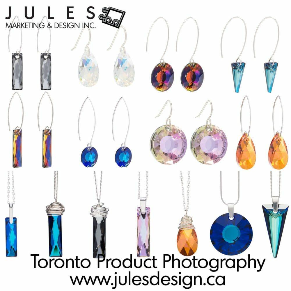 Toronto Swarovski Crystal Jewelry Product Photographer earnings and pendants