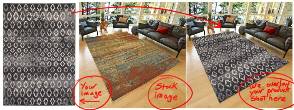 Overlay Carpet Photography to make a lifestyle image